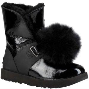 Ugg Isley Patent leather Pom Pom boot size 5 New